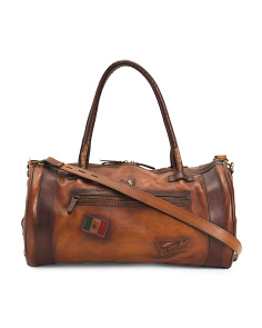 Made In Italy Leather Barrel Shape Duffel
