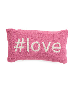 9x16 Hand Hooked Hashtag Love Pillow