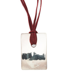 Made In Israel Sterling Silver Wine Suede Lariat Necklace
