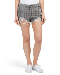 Juniors Studded High Rise Shorts