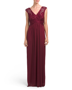 Cap Sleeve V Neck Gown
