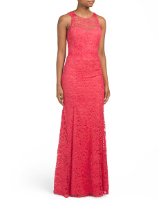 Floral Lace Sleeveless Gown