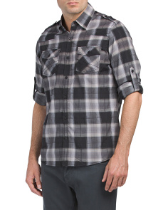 Long Sleeve Roll Up Woven Shirt