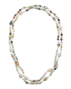 Genuine Stone Multi Strand Necklace