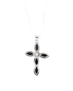 Made In Mexico Sterling Silver Onyx Cross Necklace