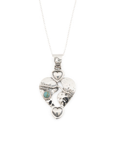 Made In Mexico Sterling Silver Turquoise Heart Pendant