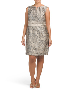 Plus Jacquard Belted Sheath Dress
