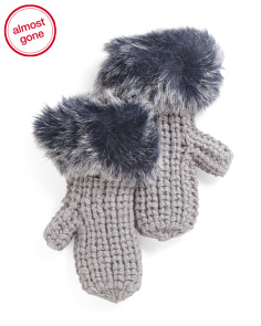 Chunky Knit Mittens With Faux Fur
