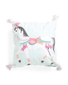 Kids Made In India 20x20 Carousel Horse Pillow