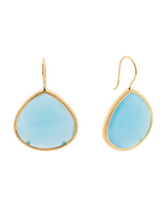 Made In Turkey Sterling Silver Blue Chalcedony Earrings