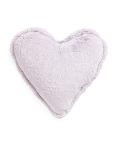 Kids 15in Faux Rabbit Fur Heart Pillow
