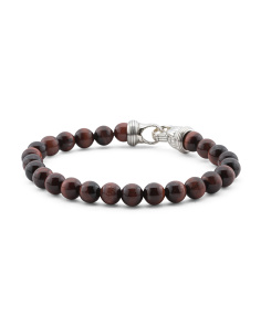 Men's Sterling Silver Genuine Red Tigers Eye Beaded Bracelet