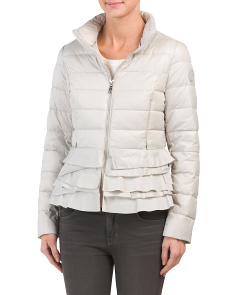 Quilted Puffer Jacket With Ruffles