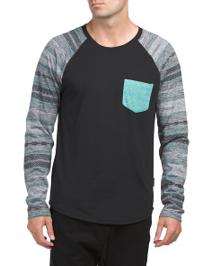 Printed Long Sleeve Crew Neck Top