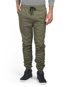 Ruched Twill Joggers
