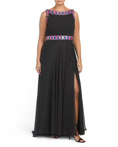 Plus Multi Color Beaded Trim Gown