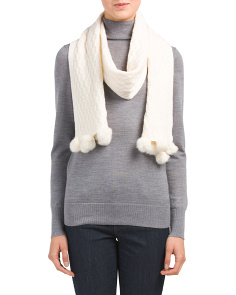 Cashmere Scarf With Pom Pom Detail