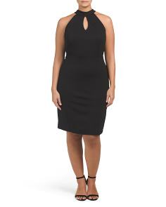 Plus Juniors Keyhole High Neck Dress