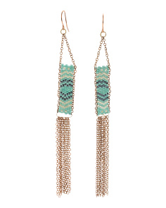 Linear Beaded Fringe Earrings