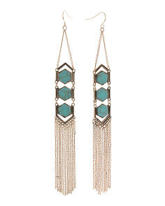 Linear Stone Fringe Earrings
