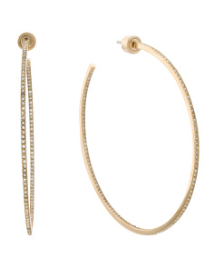 Pave Crystal Hoop Earrings In Gold Tone