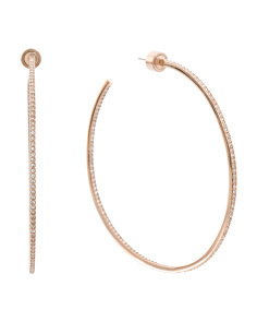 Pave Crystal Hoop Earrings In Rose Gold Tone