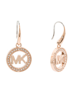 Pave Crystal Logo Earrings In Rose Gold Tone