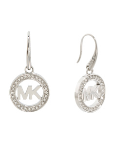 Pave Crystal Logo Earrings In Silver Tone
