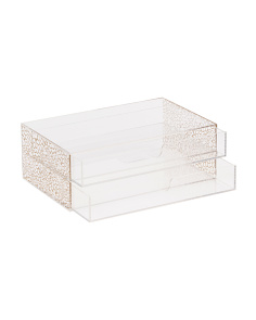 Gold Floral 2-drawer Desk Organizer