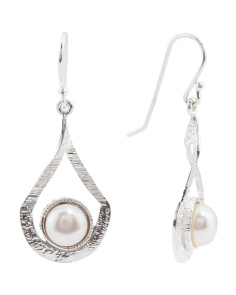 Made In Israel Sterling Silver Pearl Teardrop Earrings