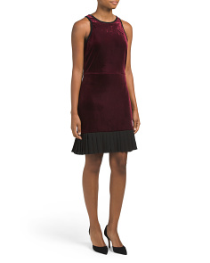 Velvet Dress With Pleated Flounce Hem