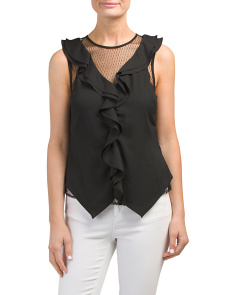 Juniors Swiss Dot Mesh Ruffle Top