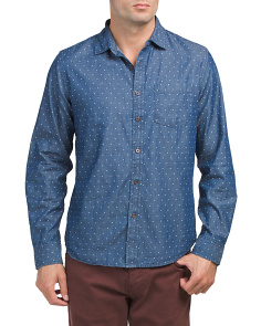 Long Sleeve Denim Dot Print Shirt