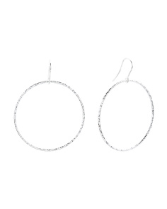 Made In Italy Sterling Silver Diamond Cut Circle Earrings
