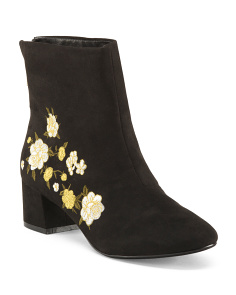 Embroidered Block Heel Boots