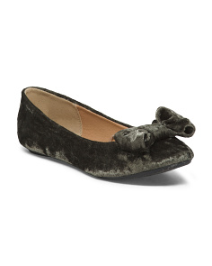 Crushed Velvet Flats With Bow