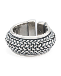 Men's Made In Italy Oxidized Sterling Silver Chain Ring