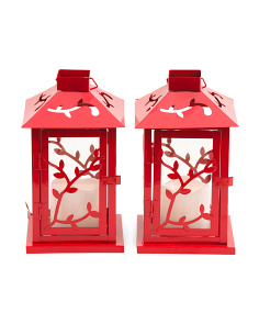 Set Of 2 Floral Lanterns