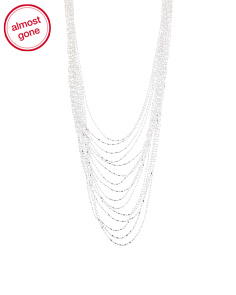 Made In Italy Sterling Silver Graduated 15 Strand Necklace