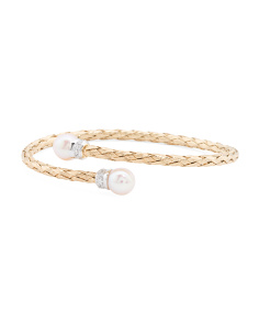 Made In Italy Gold Plated Sterling Silver Pearl Bracelet