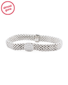 Made In Italy Sterling Silver Square Cubic Zirconia Mesh Bracelet