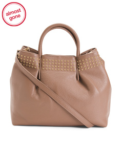 Made In Italy Leather Blush Satchel