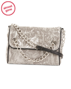 Crushed Velvet Flap Crossbody