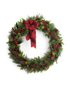 48in Mangolia And Pinecone Wreath