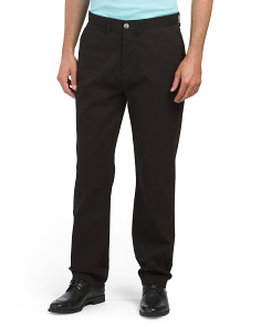 Garment Wash Flat Front Pants