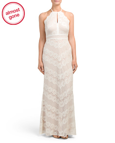 High Neck Gown With Mesh Inset