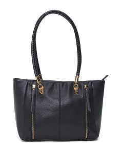Double Zip Front Leather Tote