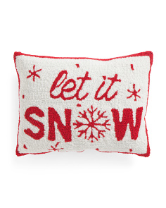 14x18 Hand Hook Let It Snow Pillow