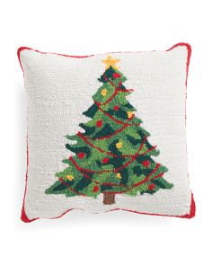 16x16 Hand Hook Christmas Tree Pillow