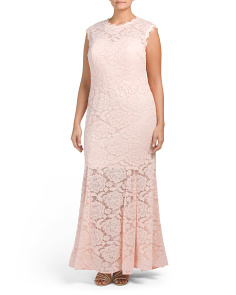 Plus High Neck Lace Gown